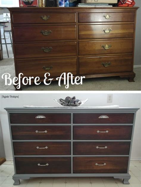 dresser makeover with gray paint walnut stain
