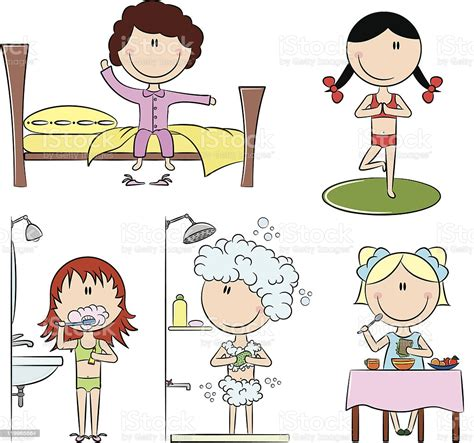 daily morning girls life stock vector art  images