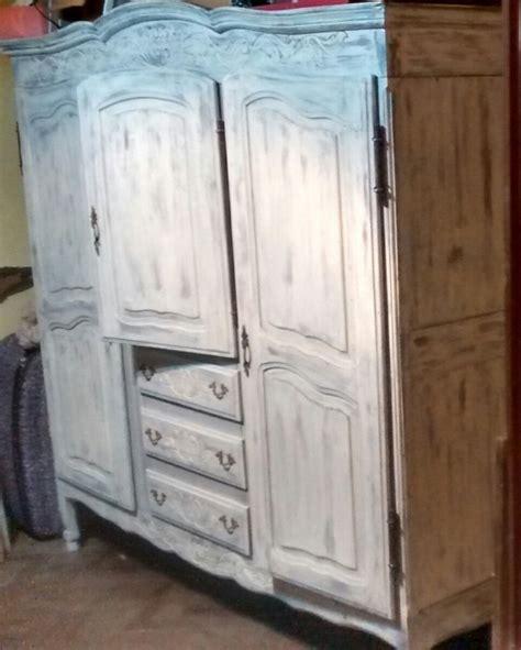ropero provenzal antiguo shabby chic patinado en blanco