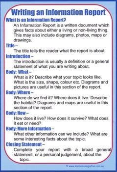 writing  information report cheat sheet  kids learning