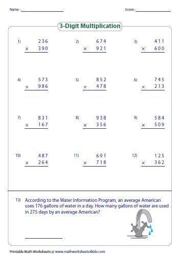 Multiplying Large Numbers Worksheets