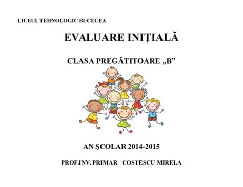 Model Raport De Evaluare Initiala Clasa Pregatitoare
