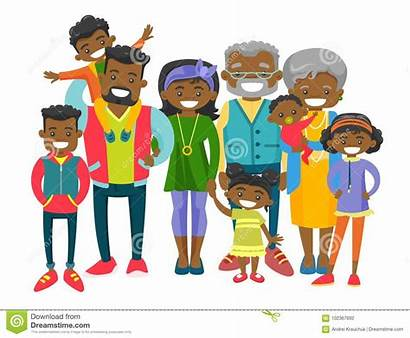 Extended Cartoon African Happy Parents Young Many