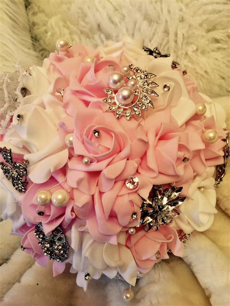 Brooch bouquet with real touch flowers in pink and white