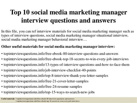 top  social media marketing manager interview questions