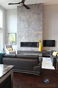 Contemporary fireplace design with tile and linear gas for Interior decorating nanaimo