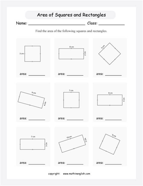 calculate  area    squares  rectangles