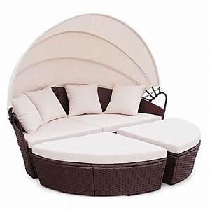 Rattan Lounge Mit Dach : li il polyrattan sunbed lounge rund mit kissen und dach ~ Bigdaddyawards.com Haus und Dekorationen