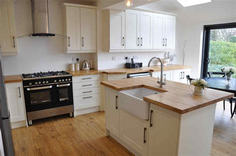 maple shaker style cabinets white kitchens with wooden worktops deductour com