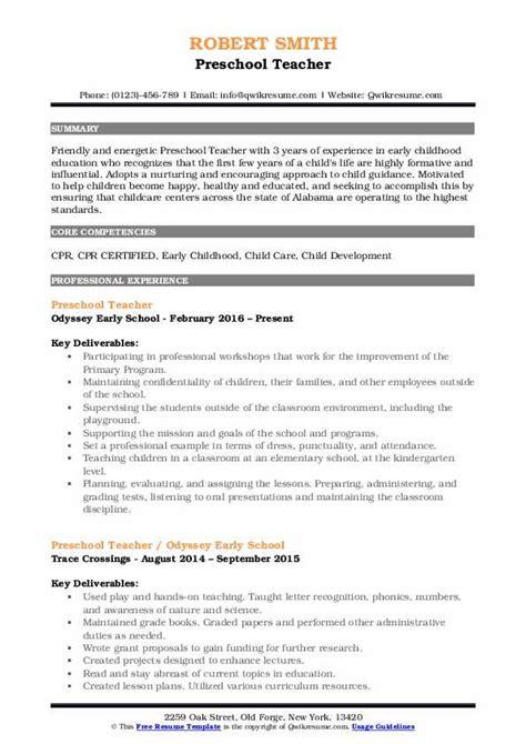 preschool teacher resume samples qwikresume