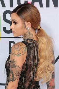 kehlani wavy brown low ponytail ombré ponytail