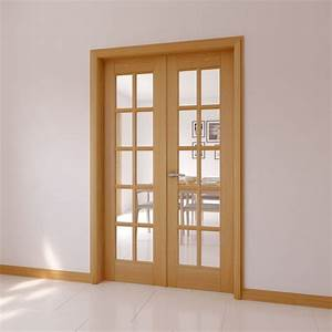 10 Lite Clear Glazed Internal French Door Set, (H)2030mm ...