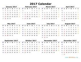 2017 Calendar Printable Template