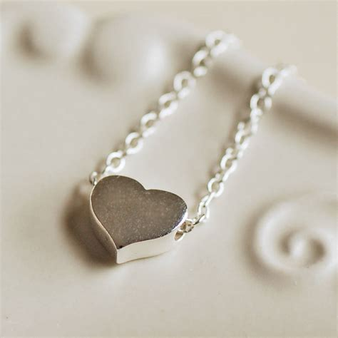 delicate sterling silver heart necklace  highland angel