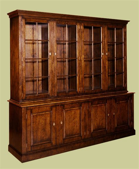 Closed Bookcases by Oak 4 Door Glazed Bookcase With Closed Cupboards