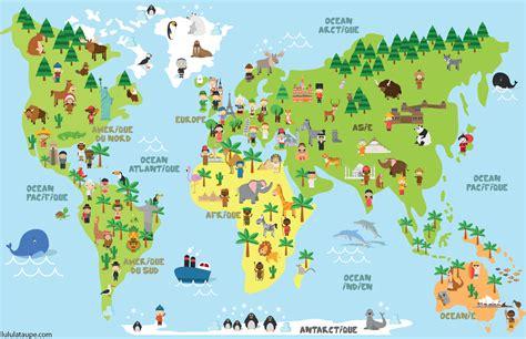 Carte Du Monde Avec Capitales Pdf by Carte Du Monde Animaux Monuments Et Enfants Des