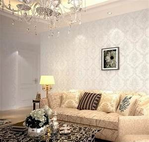 Modern Damask Feature Wallpaper Wall paper Roll For Living ...