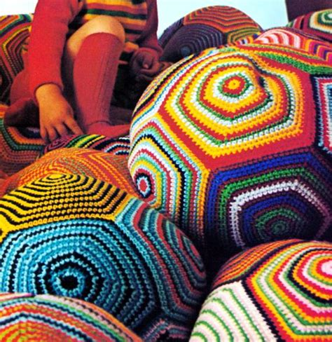 Vintage Crochet Pattern Giant Pillow Ball Pouf Floor