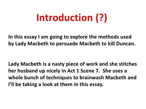 Macbeth Essay Assignments by Macbeth Act1scene7 Essay Guide