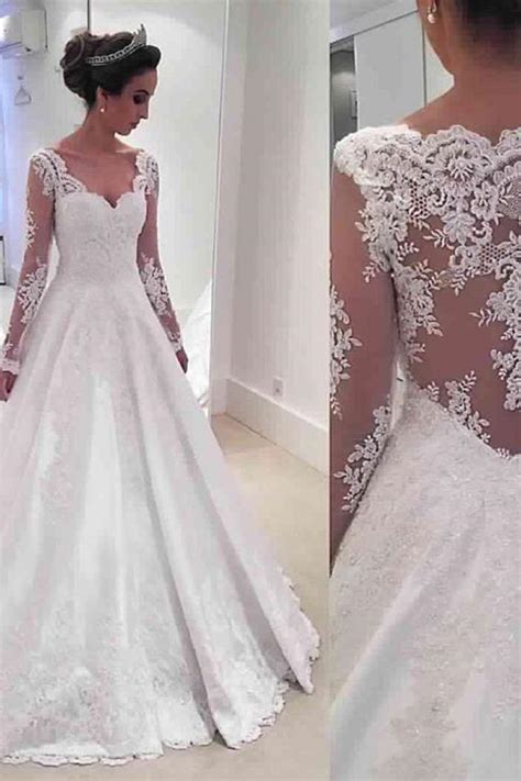 long sleeve  neck  wedding dresses  sheer lace