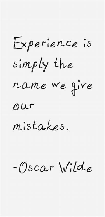 Quotes Wilde Oscar Experience Mistakes Quote Famous