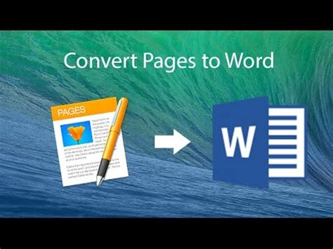 convert pages  microsoft word document youtube