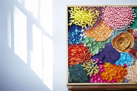 cut paper sculpture   colorful     coral reef