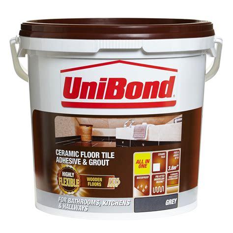 unibond ready   floor tile adhesive grout grey