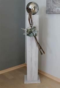 Säulen Aus Holz : gs77 gro e dekos ule aus neuem holz f r innen und aussen wei gebeizt dekoriert mit einer ~ Orissabook.com Haus und Dekorationen