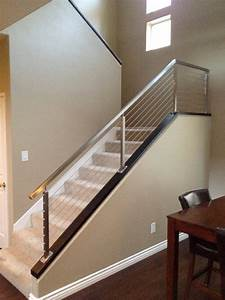 Brushed Stainless Stair Railing - Contemporary - Staircase