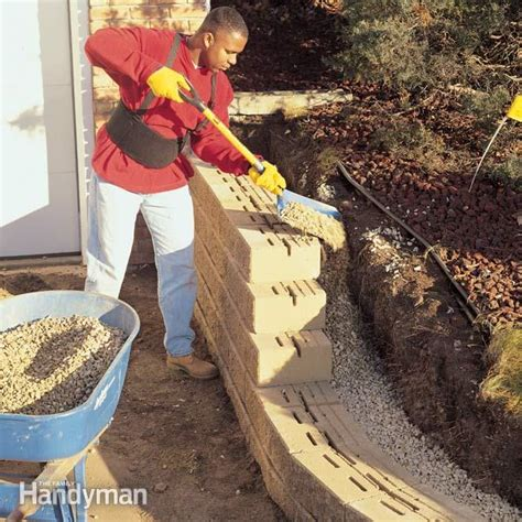 build  concrete block retaining wall  family