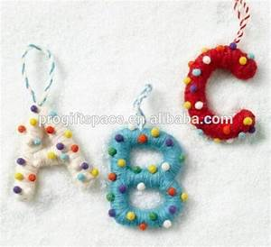 2017 new hot sale handmade cute wool ball ornament dryer With felt letter ornaments