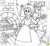 Cinderella Coloring Pages Outline Chores Doing Maid Clipart Disney Clip Colouring Around Housework Castle Cartoon Housekeeping Bannykh Template Printable Royalty sketch template