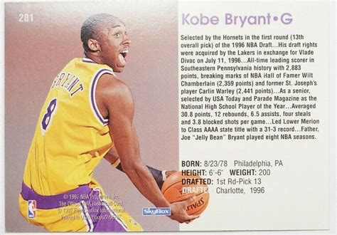 Auction results pop apr registry shop prices by grade. 1996-97 KOBE BRYANT NBA HOOPS #281 VERY RARE ROOKIE CARD RC MINT CONDITION d - Basketball Cards