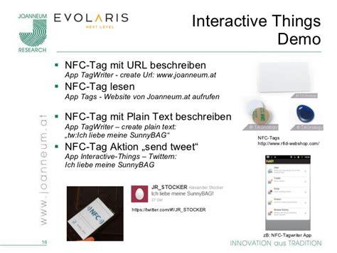 nfc tag beschreiben interactive things vempfehlen objekten im social web