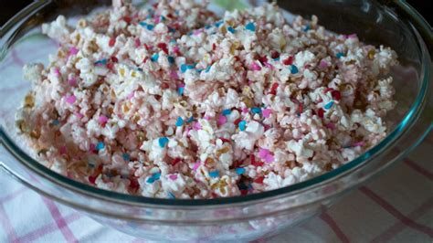 If you've chosen a theme, serve food and drinks that go along with it, like cookies shaped like mustaches, lips, or sports jerseys. Old fashioned pink popcorn - The Holzmanns | Gender reveal party food, Gender reveal food ...