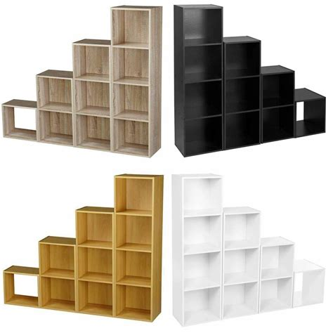 Home Shelving Units by Wooden Storage Unit Cube 2 3 4 Tier Strong Bookcase