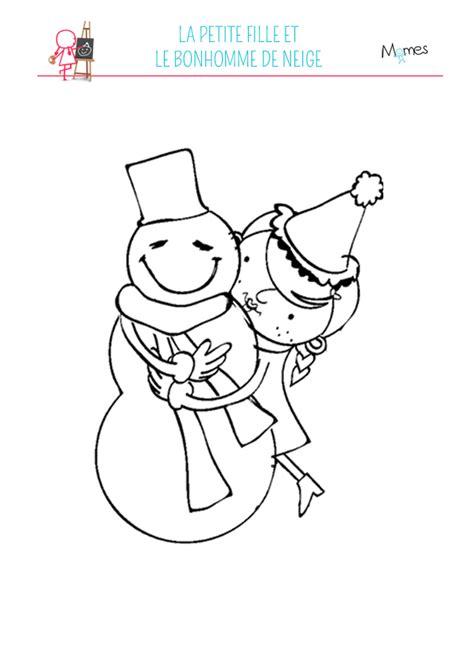 coloriage fille et bonhomme de neige momes