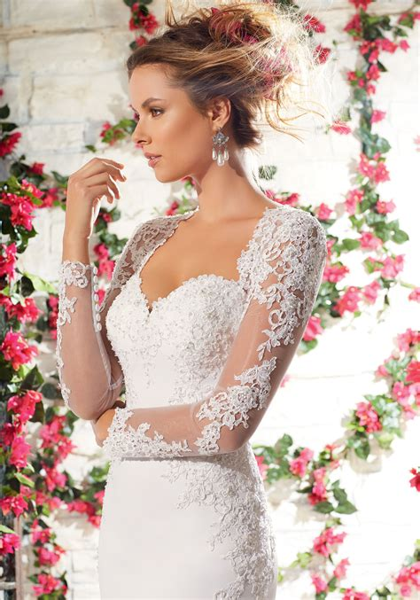Crepe With Crystal Beaded Lace  Ee  Wedding Ee   Dress Style