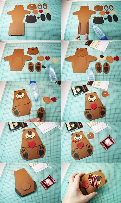 bear hug candy pocket  images birthday cards diy