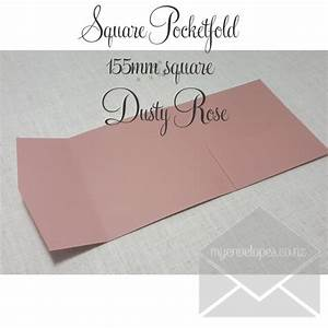 dusty rose pocketfold wedding invitations 155mm square With wedding invitation pockets nz