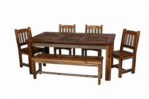 Natural barn wood dining table set dining room furniture for Barn wood dining room sets