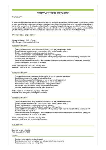 Copywriter Resumes by Copywriter Resume Great Sle Resume