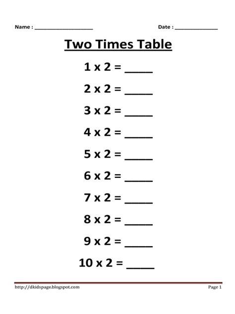 2 times table worksheet kids page 2 times multiplication table worksheet