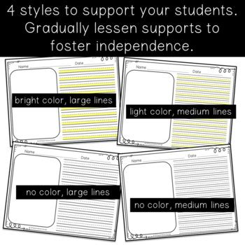 highlighted adaptive writing paper  differentiation corner tpt