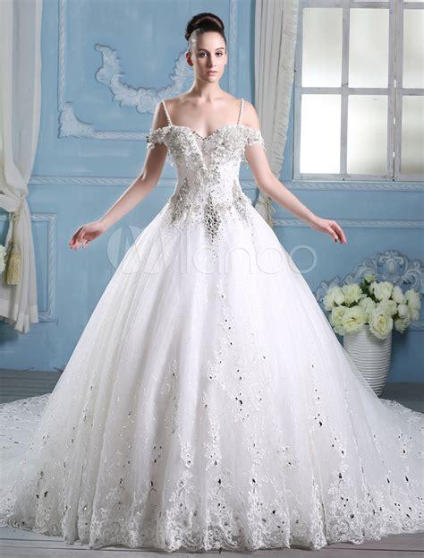 robe de chambre luxe femme robe de mariée a ligne en tulle ivoire avec strass à