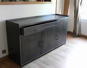 Buffet Bas Industriel : bahut buffet vaisselier meuble en metal sur mesure ~ Teatrodelosmanantiales.com Idées de Décoration