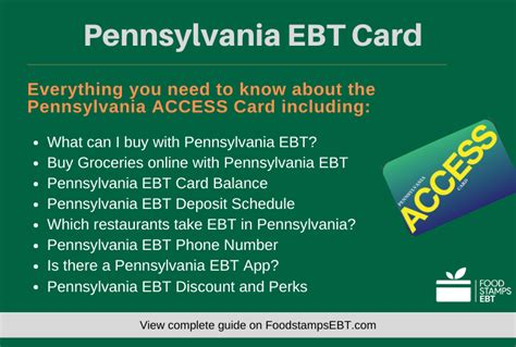 ebt card pennsylvania questions stamps access guide groceries