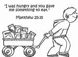 Hungry Feed Jesus Least Coloring Sunday Matthew Feeding Clipart Bible Poor God 35 Sheets Eat Children Sheep Goats Parable Church sketch template