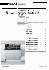 Whirlpool Wp100 Dishwasher Service Manual And Technicians